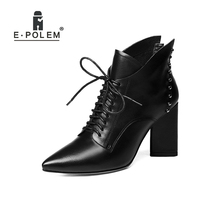 Trendy Rock Genuine Leather Rivets Boots Women High Heel Punk Cross-tied Ladies Ankle Boots Pointed Toe Boots Shoes prova perfetto euramerican pointed toe chunky heel chelsea boots women black white genuine leather cross tied knight boot female