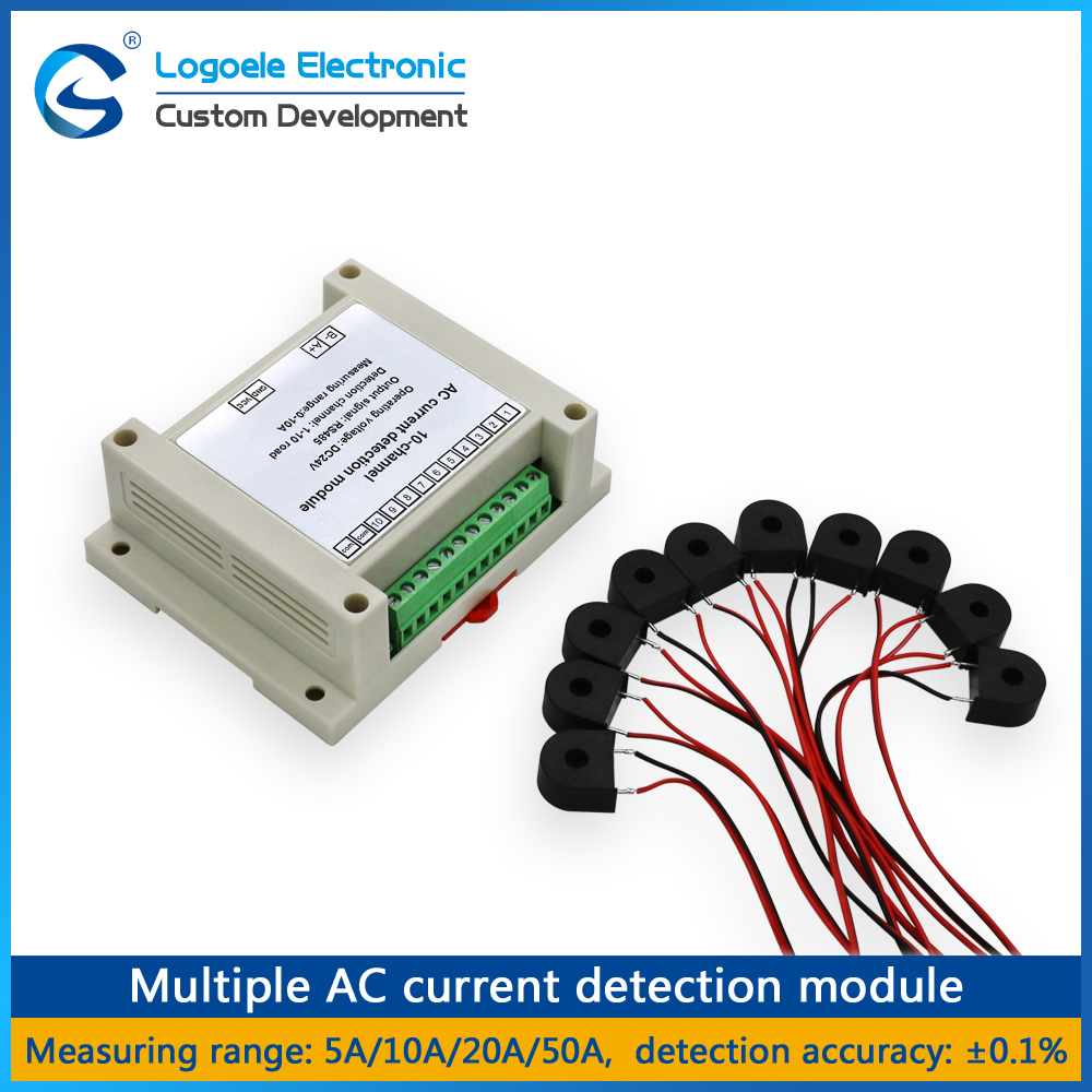LOGOELE Multiple RS485 acquisition module Full-range real-time detection 10-channel AC current transmitter