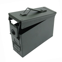 30 Cal Metal Ammo Case Can Military and Army Solid Steel Waterproof Holder Box for Long Term Gun Ammo Storage Stackable
