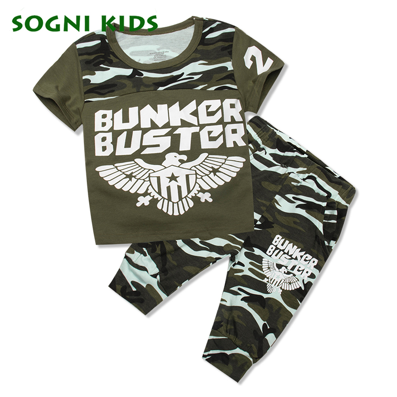 Summer Children Boy 2018 clothing set Toddler Camouflage Clothes for Kid Outfit T shirt Sport Tracksuit Eagle Military Uniform