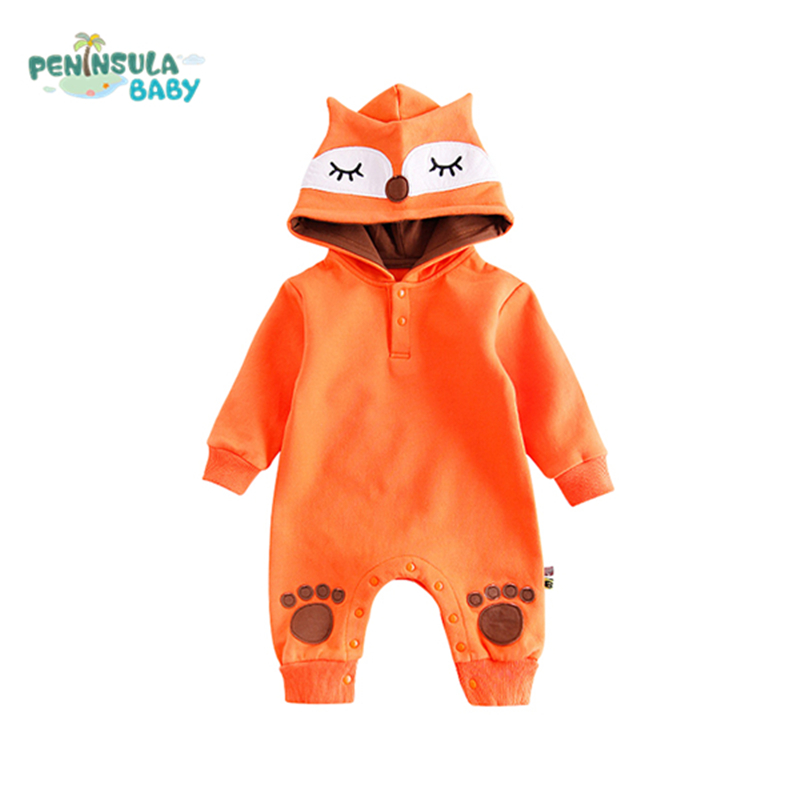 цена Newborn Baby Rompers Child Coat Warm Cartoon Fox Hooded Girls Boys Long Sleeve Plus Velvet Costume Infant Jumpsuit Baby Clothes