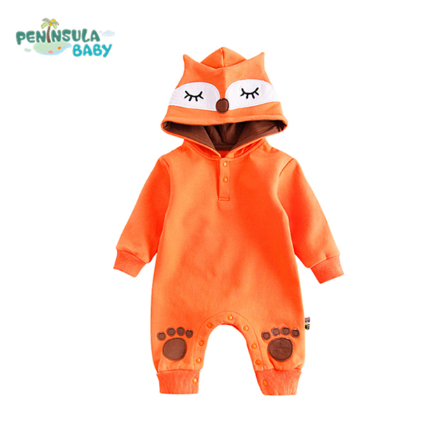 5aeec9e8e97 Newborn Baby Rompers Child Coat Warm Cartoon Fox Hooded Girls Boys Long  Sleeve Plus Velvet Costume Infant Jumpsuit Baby Clothes