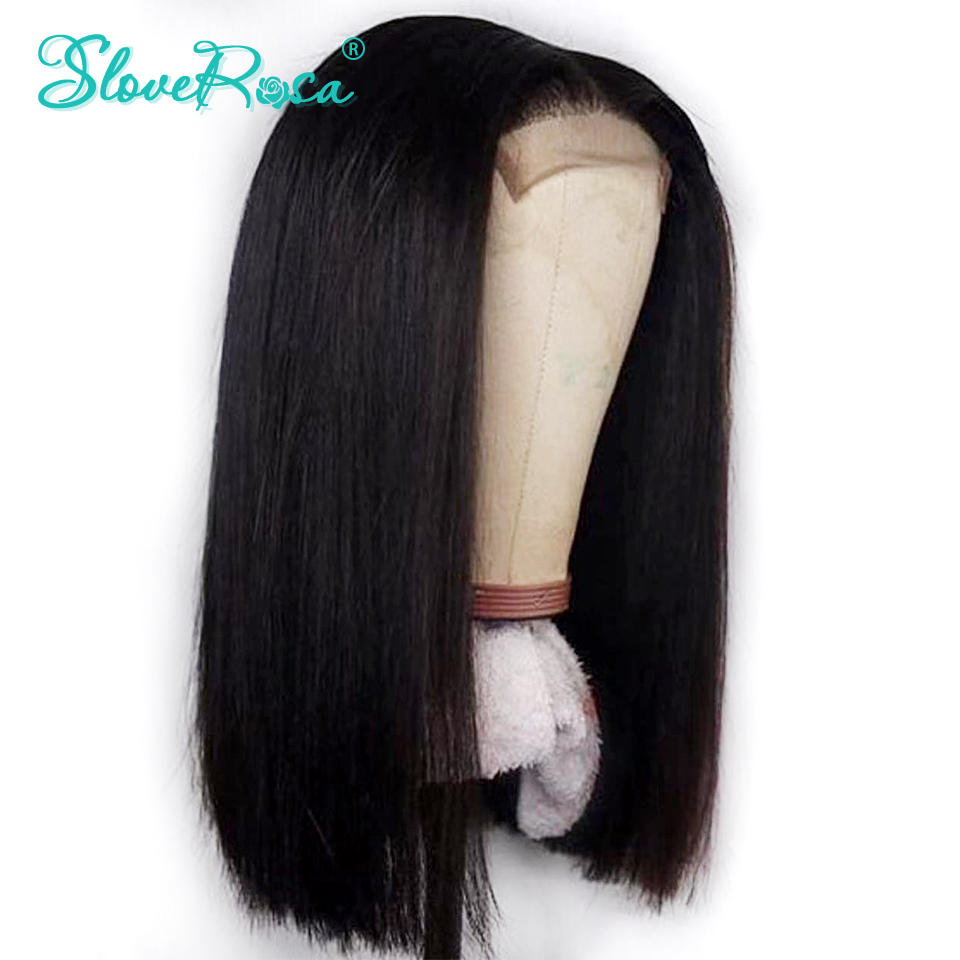 4*4 Lace Closure Human Hair Wigs Pre Plucked Bleached Knots Short Bob Brazilian Remy Hair For Women Black Full End Slove Rosa(China)