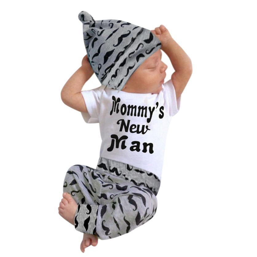Cute 3PCS Set Baby Boy Girl Clothing Tops +Long Pants Hat Outfits Baby Bodysuits for 0-18M Recem Nascido #7812