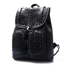 Negro puro elemento de remache de cuero genuino de la zalea mujeres hombros mochila Mochila escolar Mochila de moda bolsas