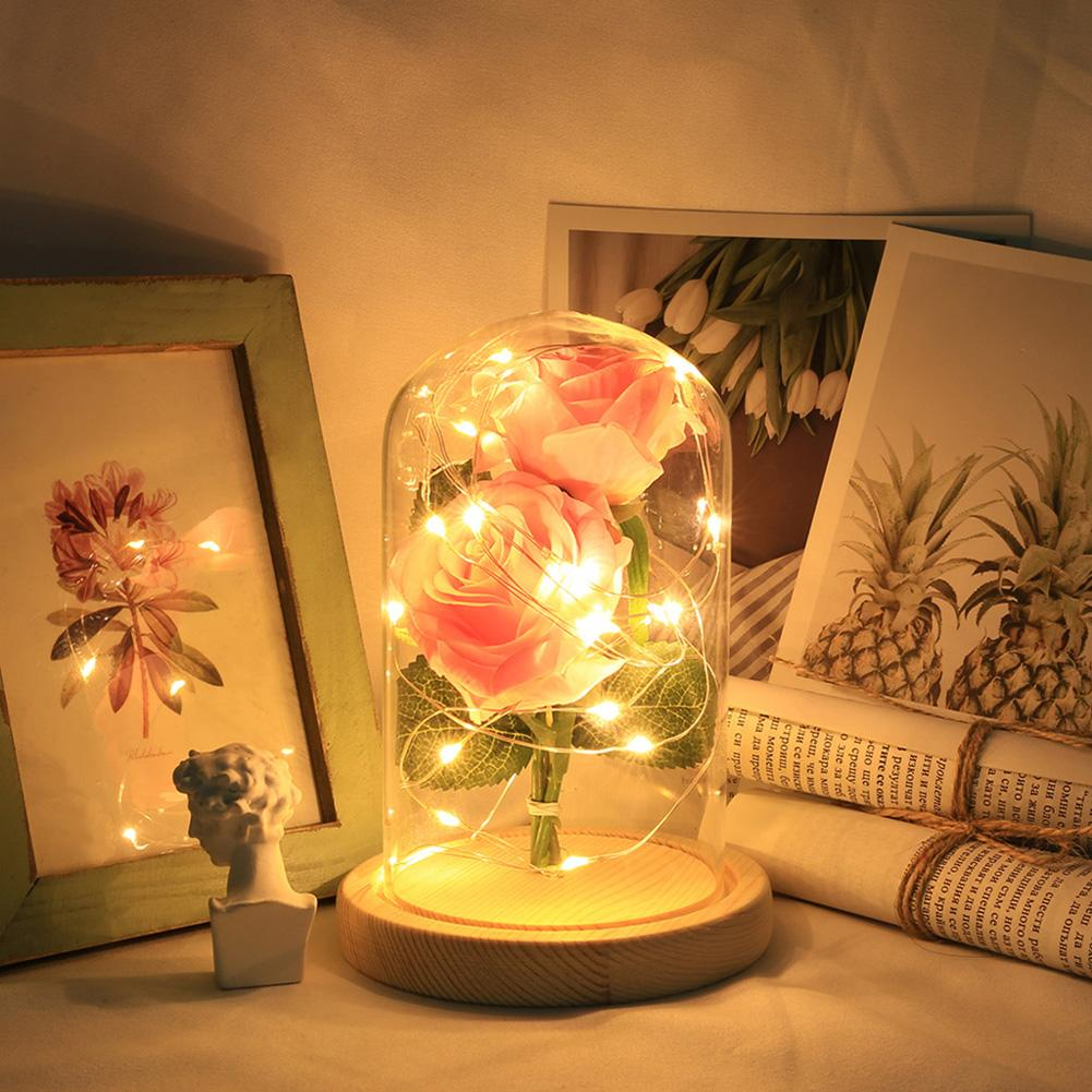 Artificial Rose LED Glass Bottle Lamp Night Light Home Decor Valentine Gift Night Lights New