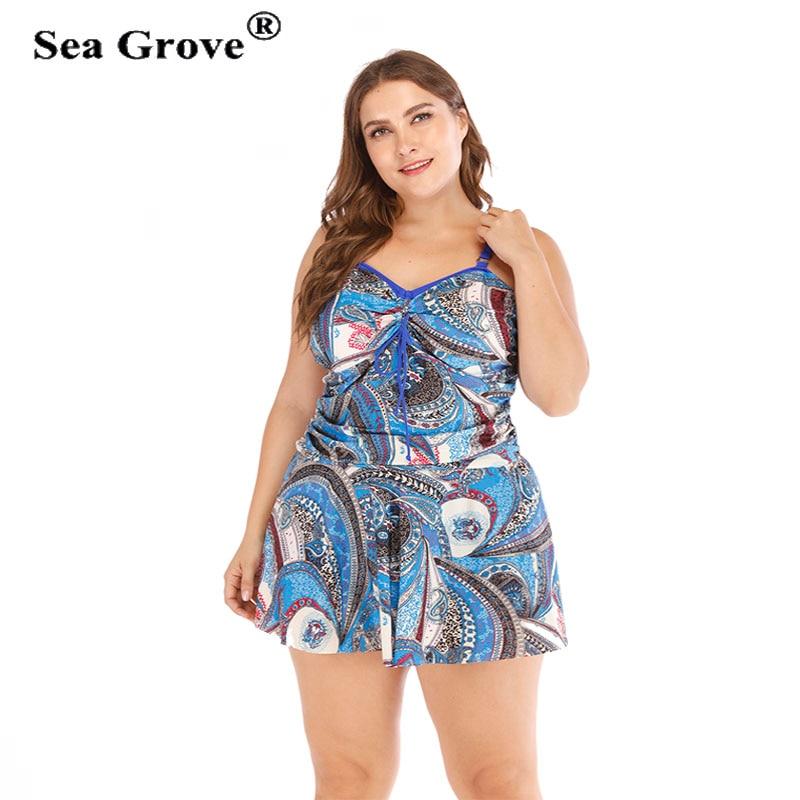2 Piece plue size swimwear dress female bathing suit swimsuit with short Bikinis Women Contrast color print Tankini biquinis