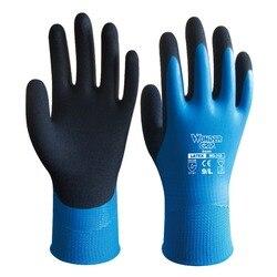 Rękawice ogrodowe wodoodporne rękawice robocze do pracy w domu podwójne Grumming trwałe użytkowanie Nylon z nitrylowymi rękawice ochronne powlekane piaskiem