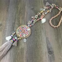Новинка ручной работы Caki Красочные Подвеска с кисточкой ожерелье boho Bohemiam длинная бахрома заявление большие ожерелья для женщин Лето