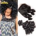 Top 8a Grade Brazilian Aunty Fumi Hair 3 Bundles With Closure, Brazilian Bouncy Curly Human Hair Weaves With Closure Egg Curls