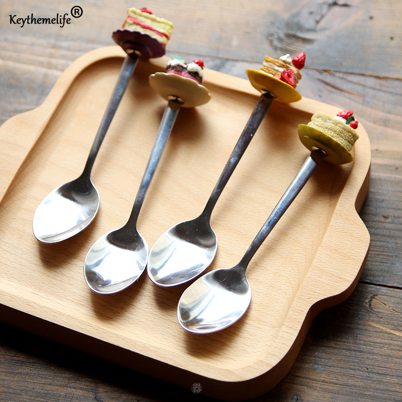 1PC Stainless Steel  Spoons Tableware Cake Style Tea Coffee Ice Cream Spoon Teaspoons Flatware