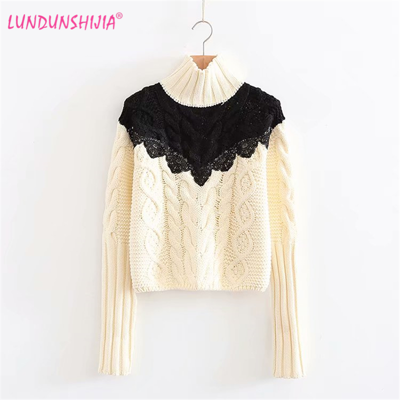 Lundunshijia Turtleneck Knitted Sweaters For Women 2018 Autumn Winter Black Lace Patchwork Loose Short Pullovers Female Sweater Delaying Senility Women's Clothing