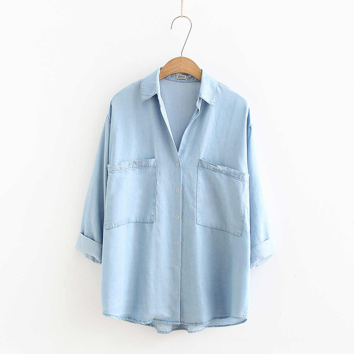 Womens Denim Shirt Chic Jeans Blusas Mujer Tencel soft Long Sleeve Shirts Oversized Fashion Blouses Blusa Feminina female tops