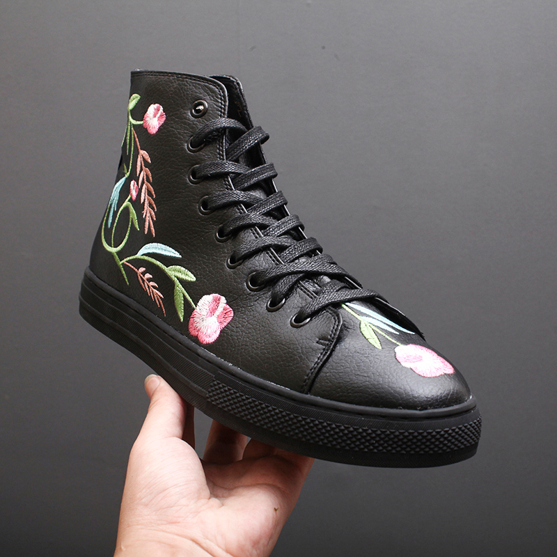 Genuino Hombres Zapatos Hip Bordado De Blaibilton Flor Marca Nueva Zapatillas Hop Lujo Negro Primavera Casual Alto Moda Plataforma Cuero qYwy1XIx81