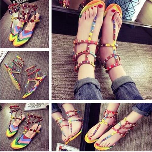55ab5f39c987b2 New European Fashion Trend Rivet Design Colorful Comfortable Bandage  Patchwork Women Sandal Causal Stylish Women Flat