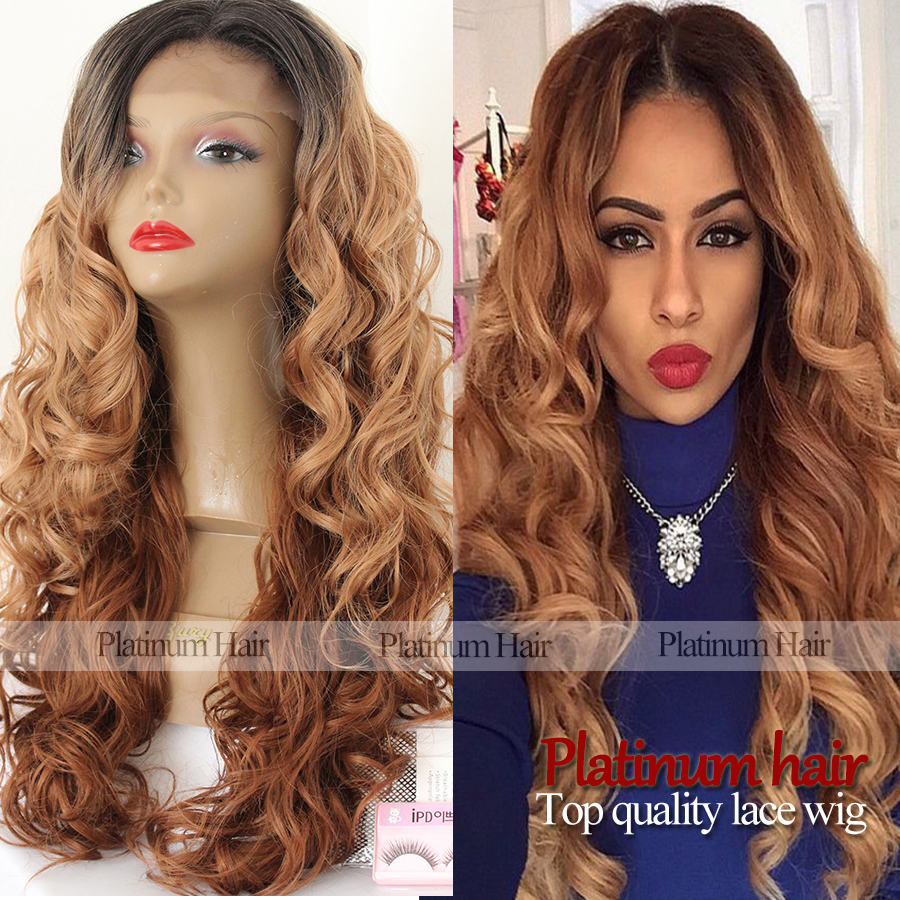 top quality heat resistant body wave hair 3 tone black to brown blond mixed  ombre wavy hair synthetic lace front wig for women 6518ed074