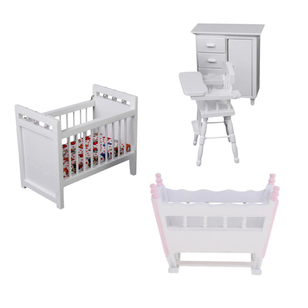 Miniature Baby Room Furniture Set Baby Bed Cradle Model For 112 Dollhouse Accessory