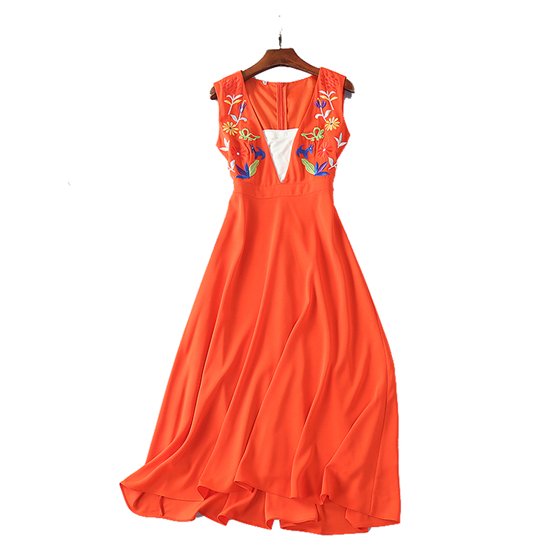 2018 Spring Runway Sexy Deep V Neck Long Orange Dresses With Lining Embroidery High Waist Maxi Dresses Elegant Vestidos