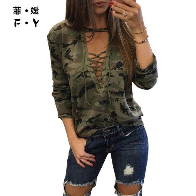 2016 осенью Новый Женщин Кружева рубашка Армия Зеленый Топы Gilrs Мода Длинным Рукавом Камуфляж BlousePrint Рубашки Панк-Стрит