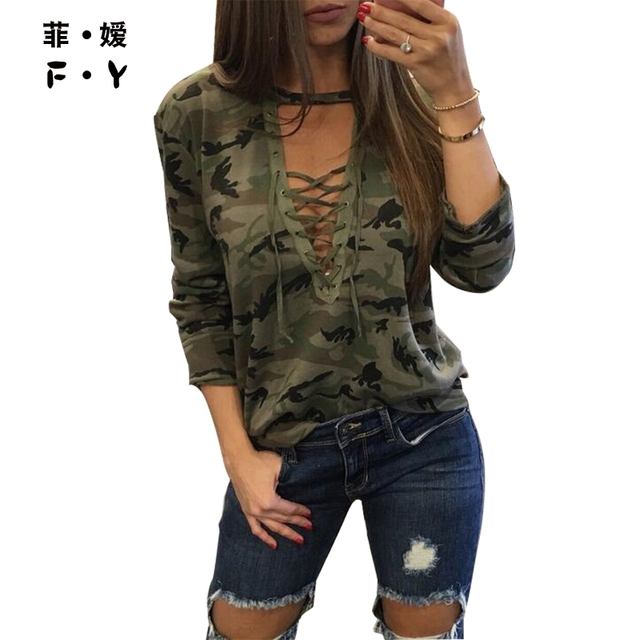 2016 autumn New Women Lace Up shirt Army Green Tops Gilrs Fashion Long Sleeve Camouflage BlousePrint Shirts Punk Street