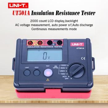 Insulation Resistance Tester UNI-T UT501A 100-1000V Megger meter Earth Ground Resistance Tester Megohmmeter 30~750V AC voltmeter smart sensor ar3123 250 500 1000 2500v megger insulation earth ground resistance tester megohmmeter voltmeter tester