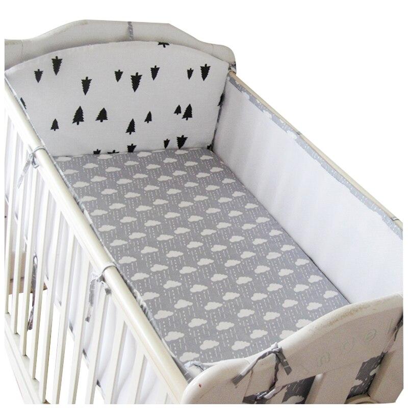Кроватки бампер 5 шт. 3D Обувь с дышащей сеткой летние хлопковые детские бортики кроватки новорожденных постельного белья забор безопасност...