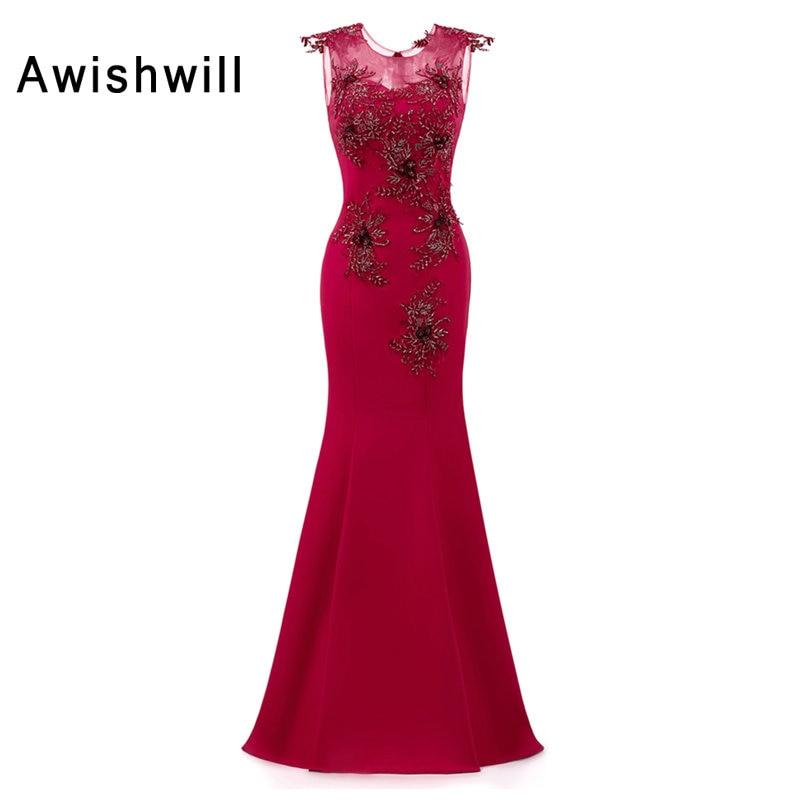 New Arrival Elegant Party Dress Prom Dresses Long Vestido de Festa Floor Length Transparent Back Mermaid Beading Evening Gowns