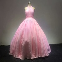 Halter sleeveless Evening Dresses Fold Chiffon Ball Gown Pink Prom Dresses