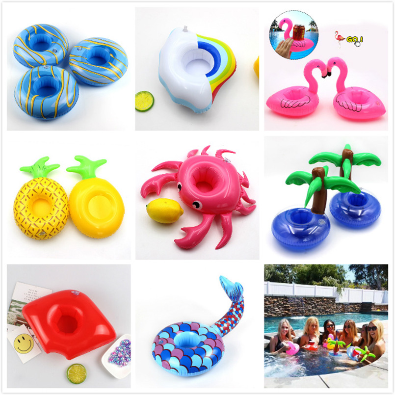 Summer Flamingo Drink Coaster Inflatable Pool Float Unicorn Cup Holder Water Toys Mini Swimming Toys For Hawaii Party Bar Ins свитшот print bar hawaii