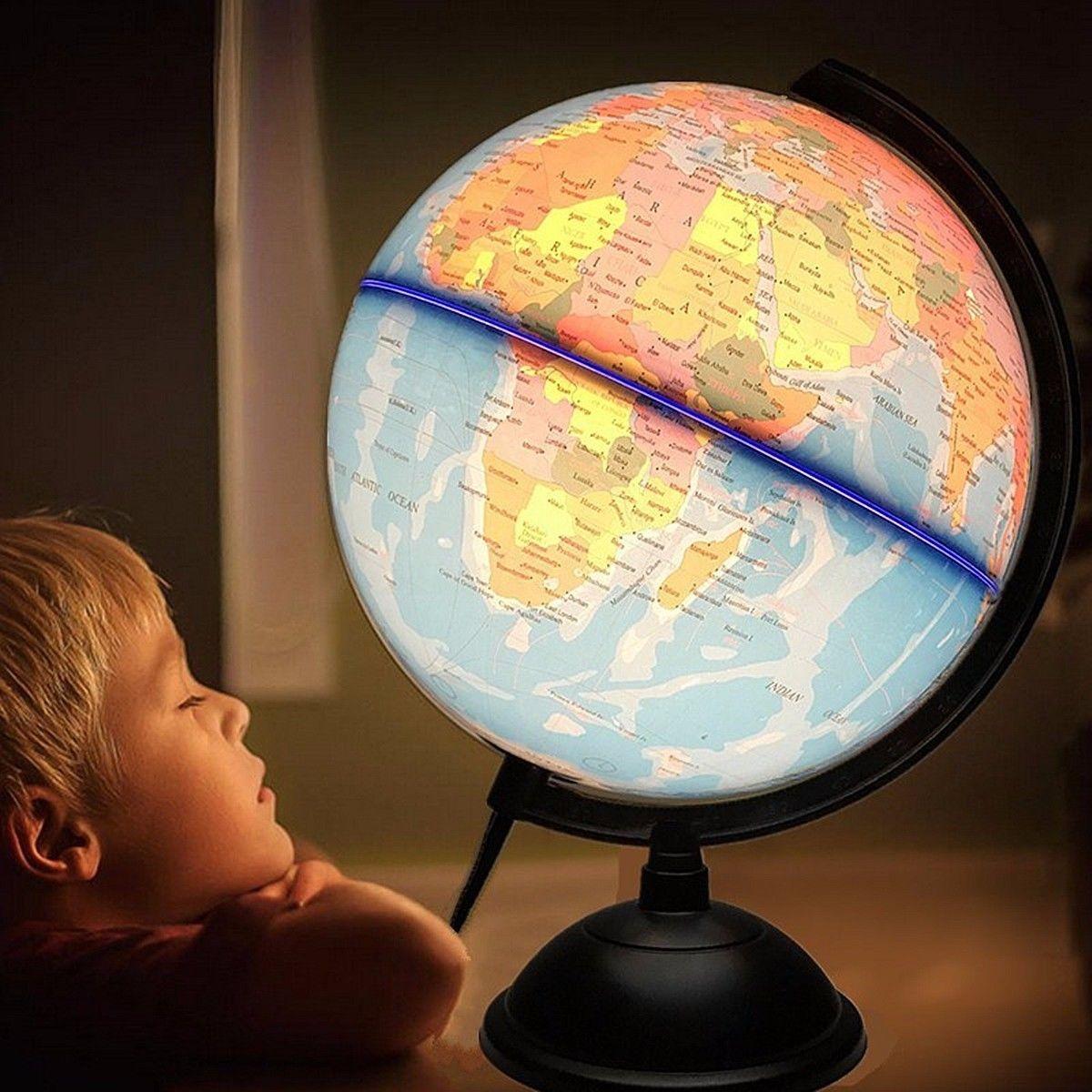 32 cm Elétrica do DIODO EMISSOR de Luz Globo Do Mundo Terra Mapa Ensinar Geografia Educação Brinquedo Terrestre Globo Tellurion Mesa de Escritório em casa Decoração