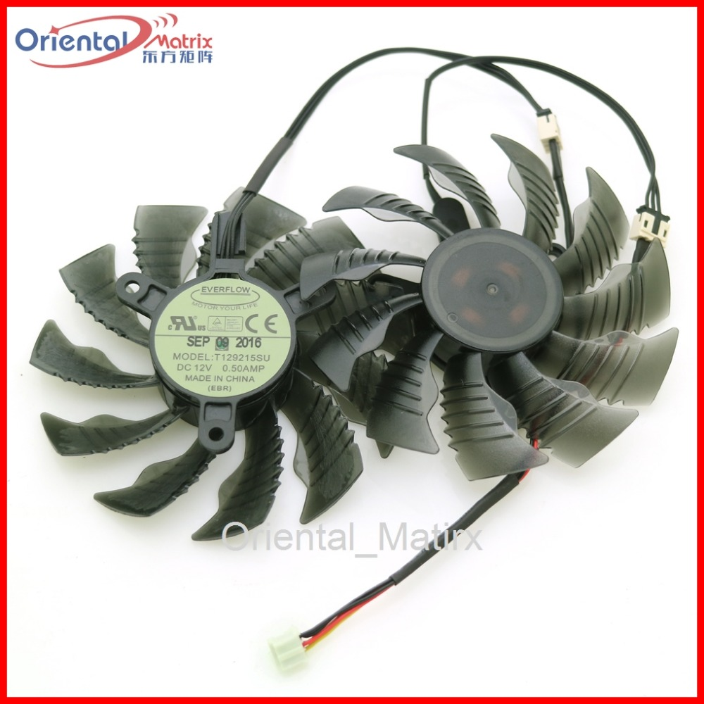 Free Shipping T129215SU 12V 0.50A 86mm 3Pin For Gigabyte GTX960 GTX970 GTX1050 GTX1060 Graphics Card VGA Cooler Cooling Fan qqv6 aluminum alloy 11 blade cooling fan for graphics card silver 12cm