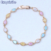 Exclusive Water Drop Pattern Charm Bracelets Multicolor Ice Crystals Stone Yellow Gold Color Trendy Jewelry For
