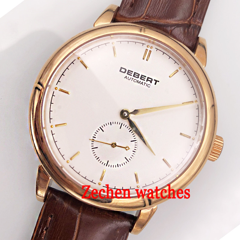 40mm Debert watch sapphirecrystal white dial rose gold brown leather strap Automatic mens watch цена и фото