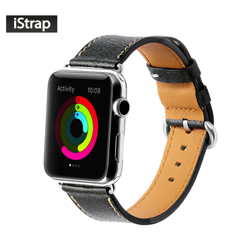 ФОТО iStrap Black 38mm 42mm Durable Watchband For Apple watch Calf Leather Watch Strap For Apple watch strap 38mm 42mm