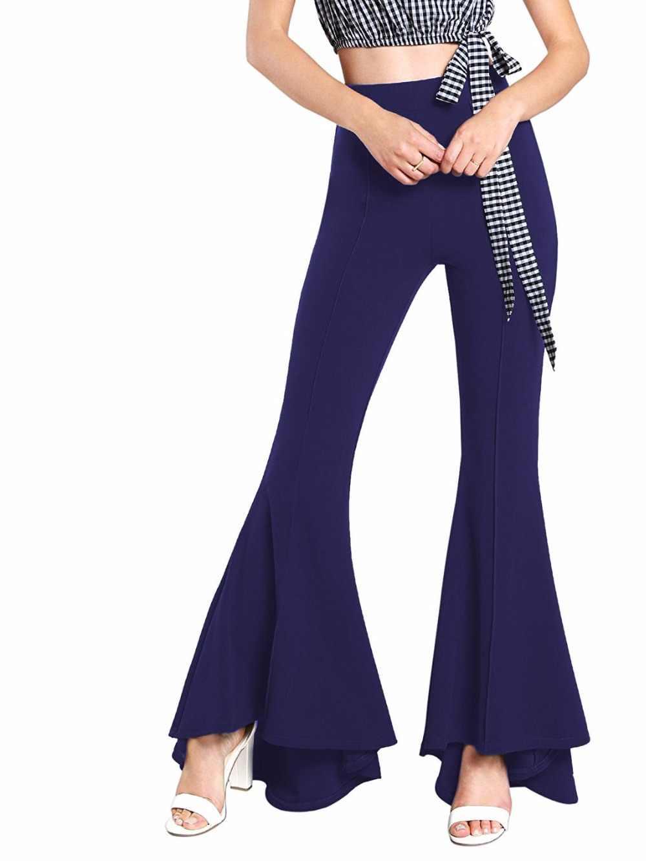 e3730efd0df ... Winter 2018 Ladies Trousers Women High Waist Bell Bottom Pants Flare  Pants Wide Leg Pants Big ...