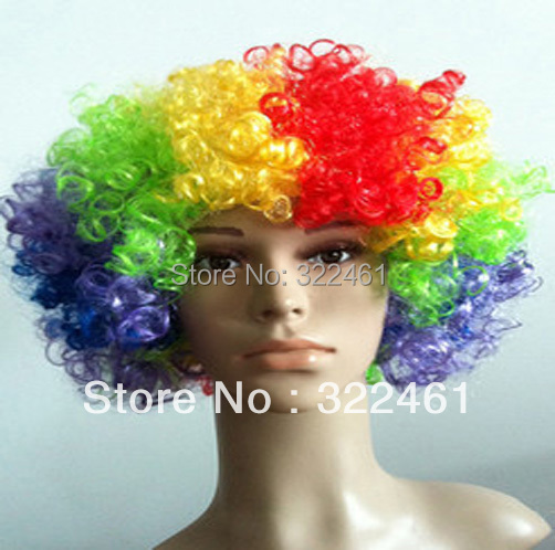 2018 Wigs Hair Rainbow Clown Curly Wigs Party Dress Up for Women Men Kids 165g