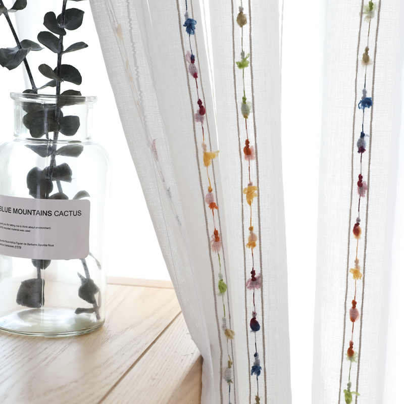 Embroidered Line Sheer Curtains Dot Japanese And Korean Style Tulle Curtain for Living Room Cortinas Rideaux 263&30