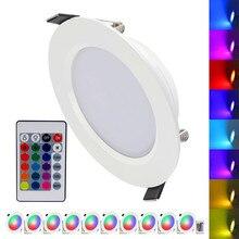 (10 יח\חבילה) RGB 10W 5W LED פנל אור עם שלט רחוק שקוע תקרת מנורה מקורה קישוט צבעוני בית אור