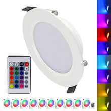 (10pcs/Lot) RGB 10W 5W LED Panel Light With Remote Control Recessed Ceiling Lamp Indoor Decoration Colorful Home Light