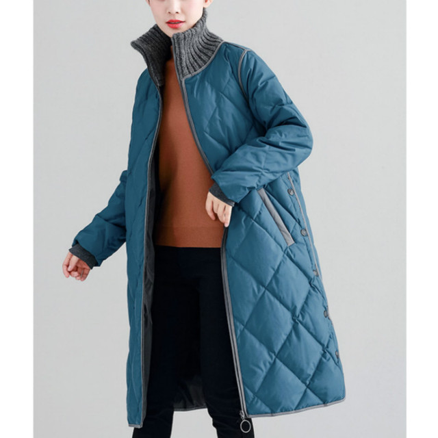Size M~3XL New Women's Plus Size Down Coats Long Parka Buttons Duck Jackets Winter Knitted Collar Ladies Outerwear Snow Clothing