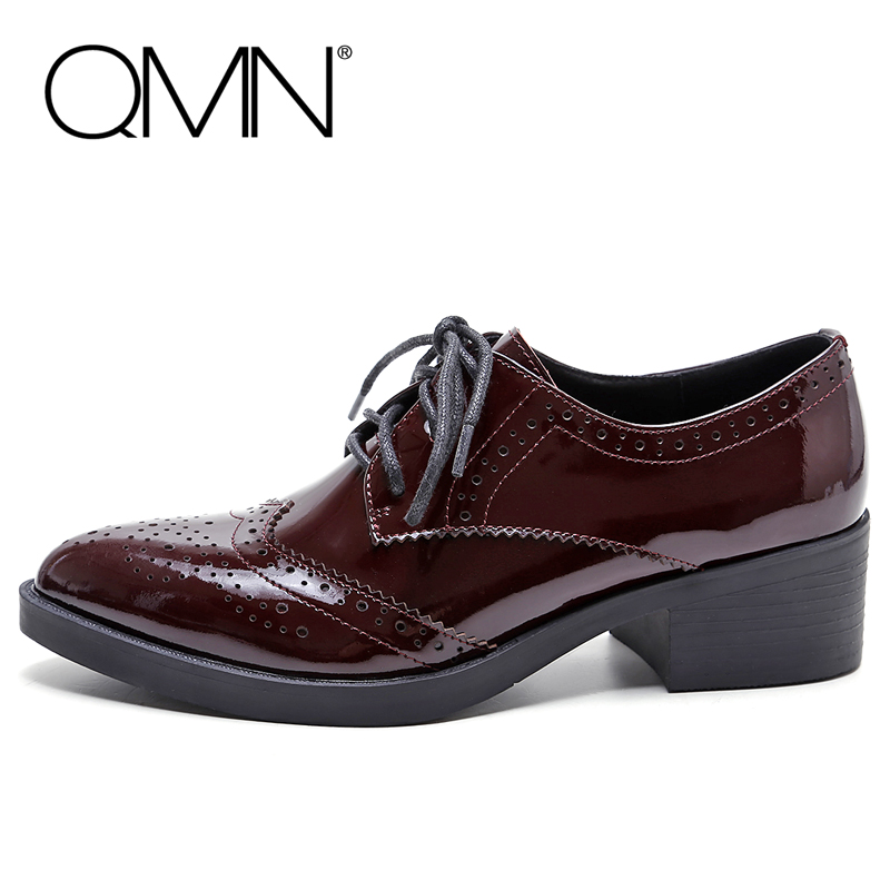 QMN women genuine leather flats Women Patent Leather Oxfords Retro Brogue Shoes Woman Pointed Toe Flats 34-39 qmn women genuine leather platform flats women cow leather oxfords retro square toe brogue shoes woman leather flats creepers