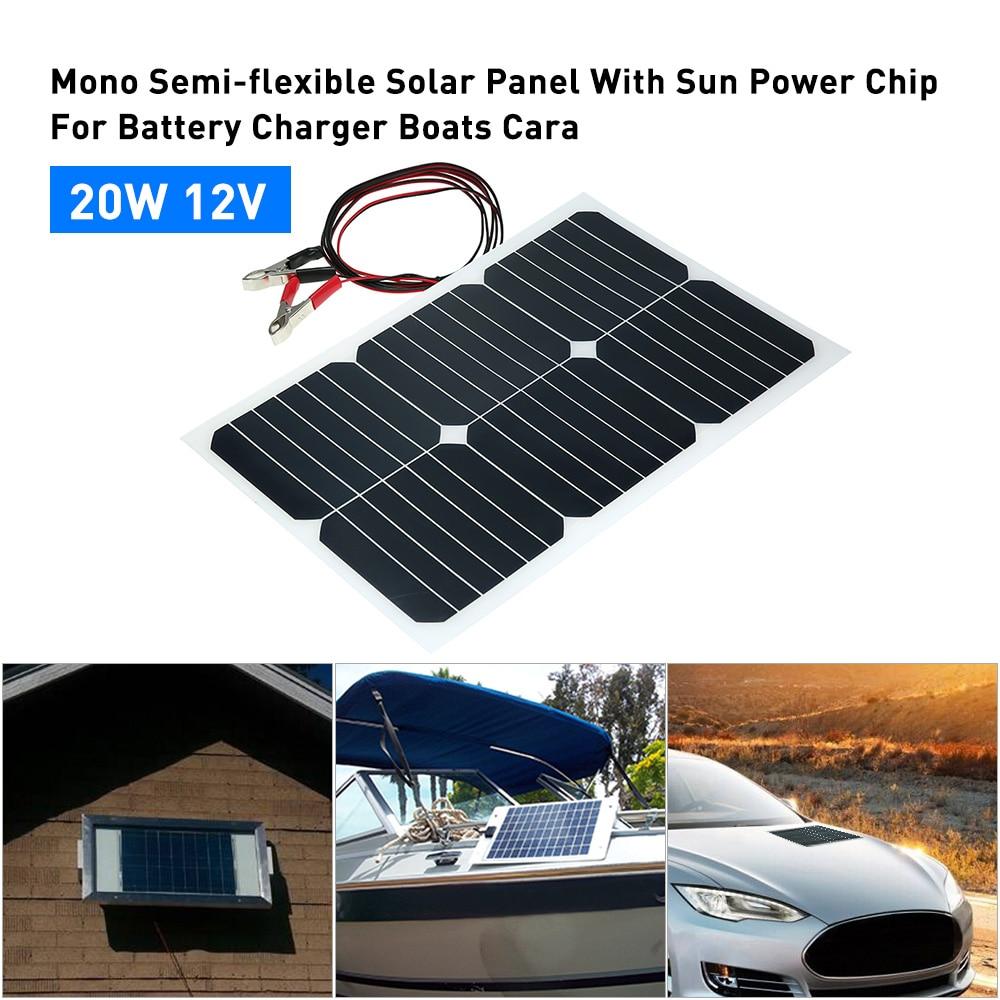 20 W 12 V Mono panneau solaire Semi-flexible avec puce Sunpower pour chargeur de batterie bateaux Cara 20 W 12 V panneau solaire semi flexible