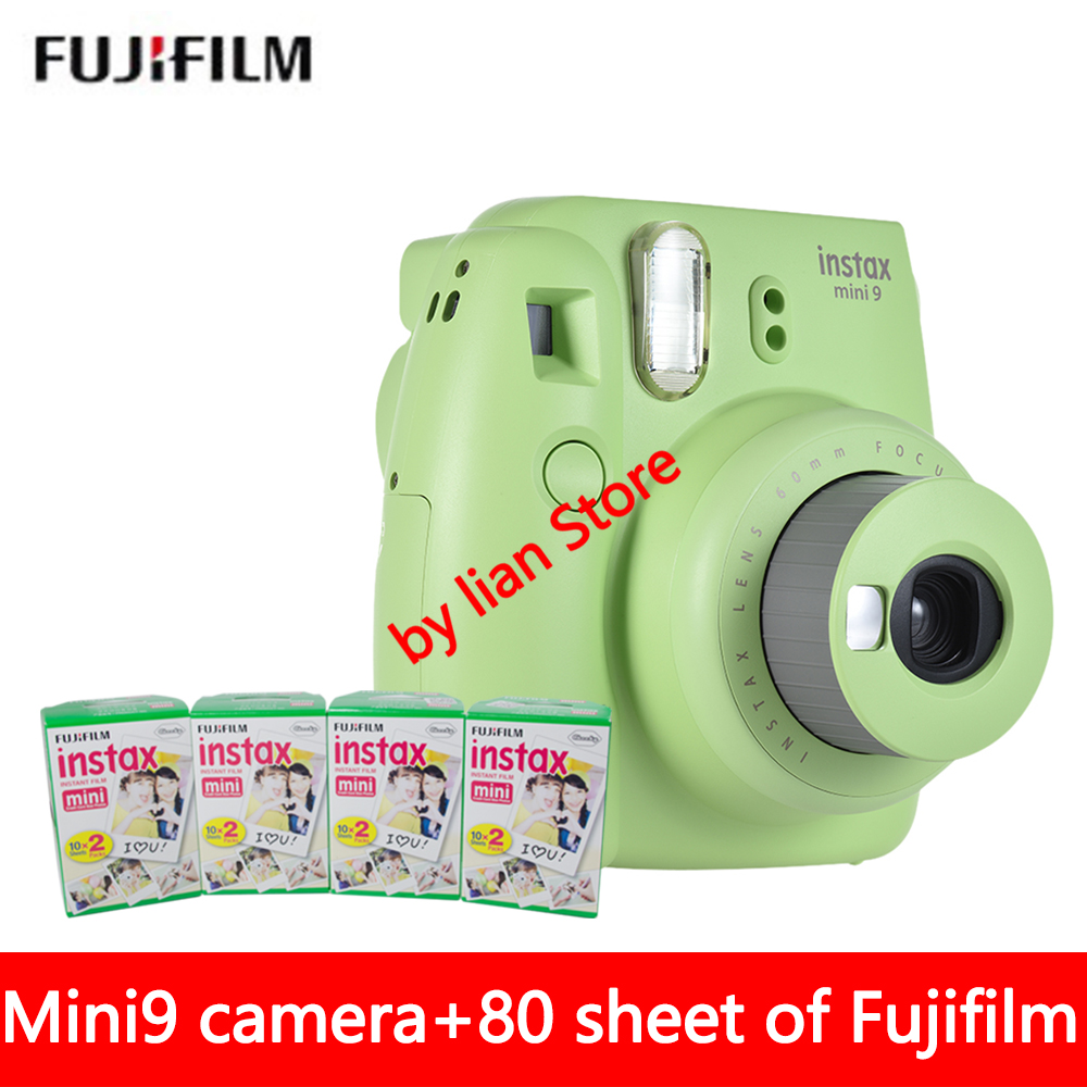 New 5 Colors Fujifilm Instax Mini 9 Instant Photo Camera + 80 sheet Fuji Instax Mini 8 White Film + Close up Lens Free shipping fujifilm instax mini 9 camera 5 colors 10 shots fuji mini 9 instant film monochrome photo paper free shipping