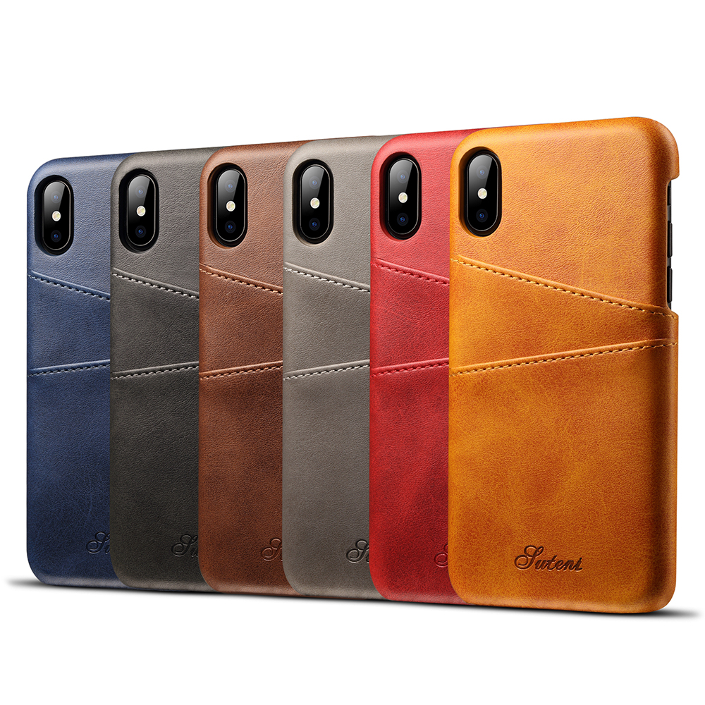 KIPX1014_7_Slim Leather Back Cover For iPhone X Cow Case Ultra Thin Wallet Card Holder Back Covers For iPhone 10