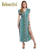 Bohoartist Women Long Dress Summer Green Pleated Lace UP Print Backless Fashion Apparel Elegant Bohemian Ladies