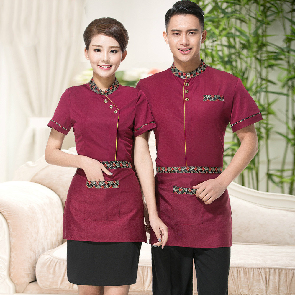 3 Color New Style  Hotel Uniforms Short Sleeved Summer Chinese Restaurant Waiter Clothes Top + Apron