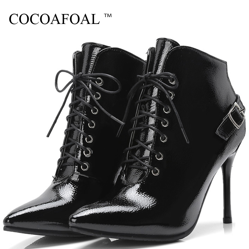COCOAFOAL Women's Lace Up Heels Ankle Boots Woman Martin Boots Winter Plus Size 32 43 Chelsea Boots Pointed Toe High Heels Shoes enmayer shoes woman supper high heels ankle boots for women winter boots plus size 35 46 zippers motorcycle boots round toe