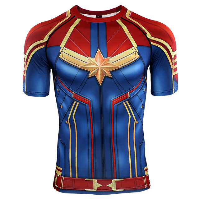 3D プリント Tシャツ男性キャプテン圧縮シャツラグラン袖 2019 半袖コミックコスプレ衣装の布プリント男性