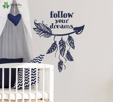 YOYOYU Wall Decal Bohemian Feather Bedroom Sticker Quotes Follow Your Dream For Kids Rooms Mural Removable Home Decor SY943