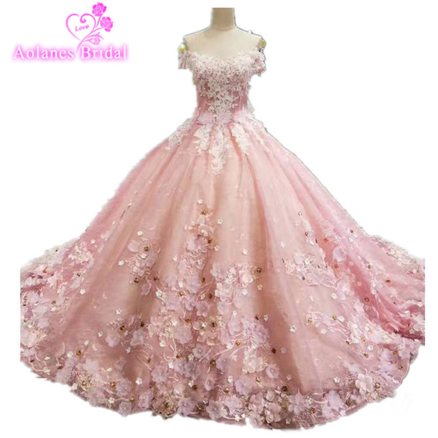 2017 Real Image Flowers Ball Gown Wedding Dresses Lace Applique Beaded  Princess Vintage off the Shoulder Wedding Bridal Gowns fbb0bb679